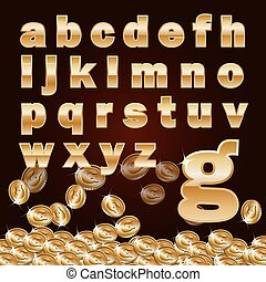 Golden metallic shiny letters and coins isolated on dark...