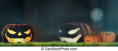 halloween pumpkins at night 3d render
