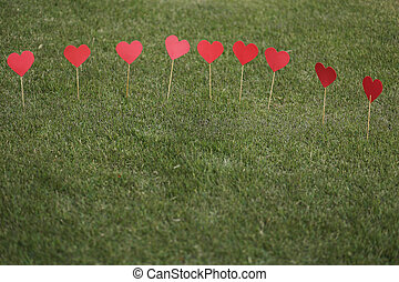 Heart shape applied on the lawn - Heart shape cut out and...
