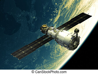 Space Station In Outer Space. 3D Illustration.