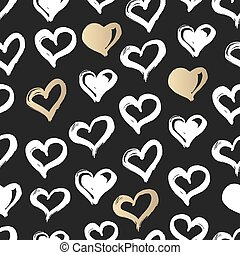Seamless heart pattern. Hand drawn with ink. Black, gold and white. Love concept. Heart pattern for printables, scrapbooking, baby shower, wedding invitations, birthday cards.