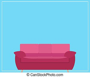 Pink Sofa Icon on Blue Background. Vector Illustration.