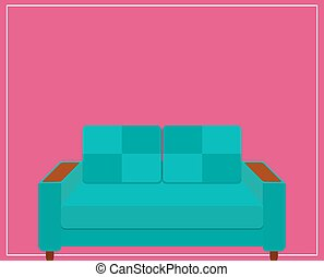 Blue Sofa Icon on Pink Background. Vector Illustration.