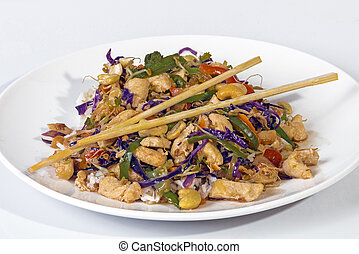 Studio Shot of Stir Fried Chicken Chop Suey and Chopsticks -...