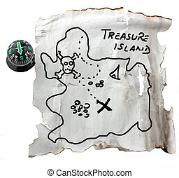 Map of the treasure - Old map with signs for finding a...