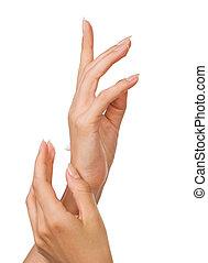 hermoso, clavos, mujer, dedos
