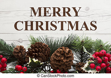 Old fashion Christmas greeting, Garland with pine cones and...