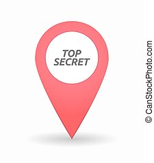 Isolated map mark with the text TOP SECRET - Illustration of...