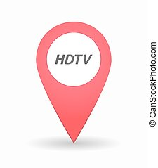 Isolated map mark with the text HDTV - Illustration of an...