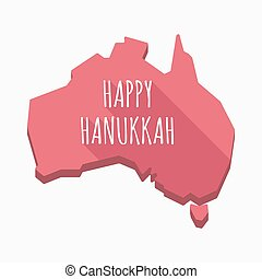 Isolated Australia map with    the text HAPPY HANUKKAH