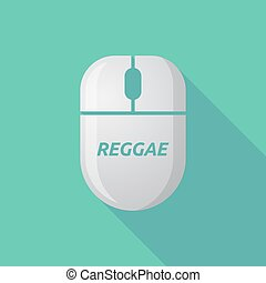 Long shadow computer mouse with the text REGGAE -...