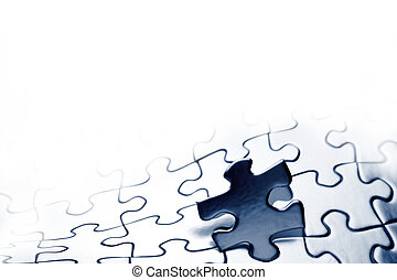 Jigsaw puzzle - Piece of jigsaw puzzle. Copy space