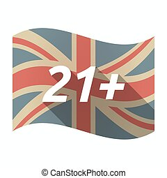 Isolated UK flag with the text 21+ - Illustration of an...