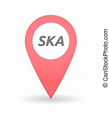 Isolated map mark with the text SKA - Illustration of an...