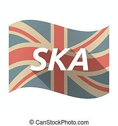Isolated UK flag with the text SKA - Illustration of an...