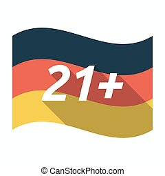 Isolated german flag with the text 21+ - Illustration of an...
