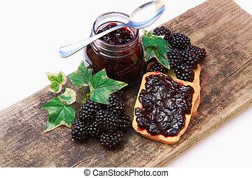jam - sweet blackberries jam on toast close up