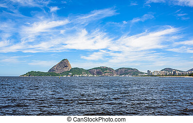 Guanabara Bay at sunny day with Sugarloaf Mountain on the...