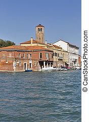 Murano cityscape with canal di San Donato, Venice, Italy.