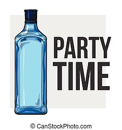 Traditional blue gin glass bottle, poster design, party time...