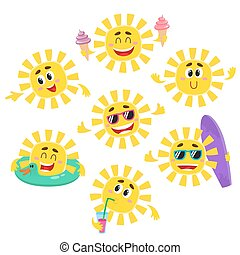 Set of sun characters with ice cream, drink, surfboard,...