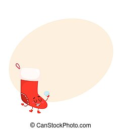 Funny Christmas boot, stocking character, cartoon vector...