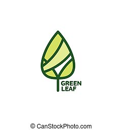 Pointed green leaf growing up logo template, vector...