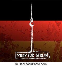 vector Pray for Berlin concept .
