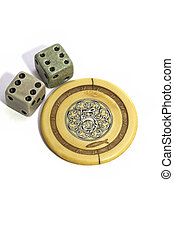 Lucky vintage gambling dice and poker chip - Lucky vintage...