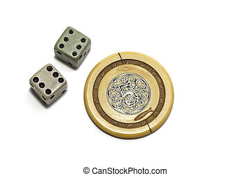 Vintage gambling dice and poker chip