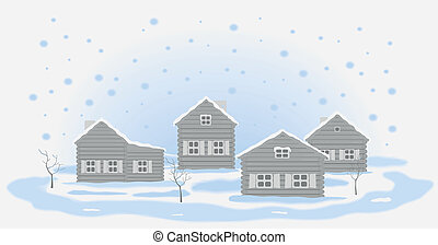 Illustration of winter landscape with wooden houses.
