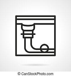 Pool table pocket simple black line vector icon - Abstract...