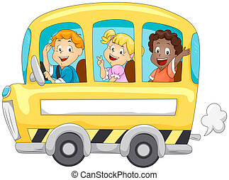 Children in School Bus with Clipping Path