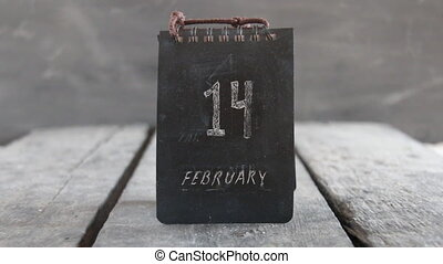 Valentines day calendar. 14 february inscription. - date of...