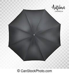 Vector classic black round Rain umbrella top view. Transparent background