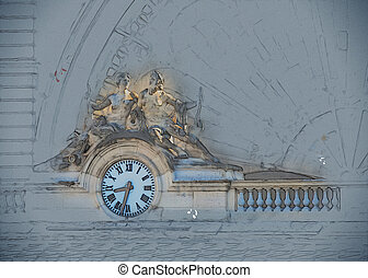 Clock, Gare de l'Est, Paris, France - Clock on the facade of...