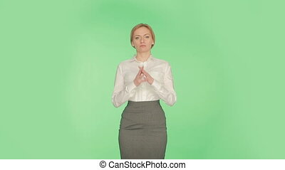 body language. woman green background. Related fingers. -...
