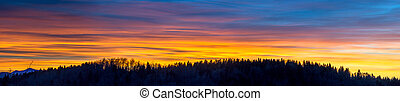 Sunset  and silhouette of forest in winter time