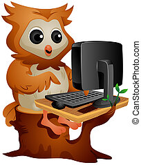 Computer Owl - Owl using the Computer with Clipping Path