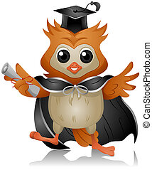 Owl Graduate - Graduate Owl holding Diploma with Clipping...