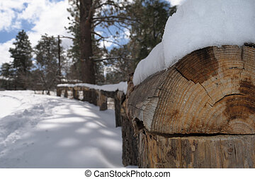 Snow on Railing 1- 2016 - Snow stacked on a railing during a...