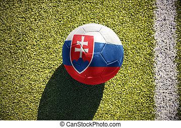 football ball with the national flag of slovakia lies on the...