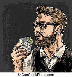 Hipster holding a glass of gin. Vintage vector engraving...