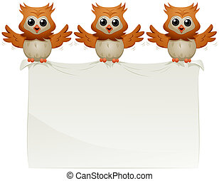 Announcement - Owls carrying Announcement with Clipping Path