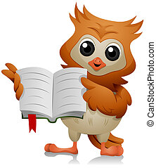 Pointing at a Book - Owl Pointing at a Book with Clipping...