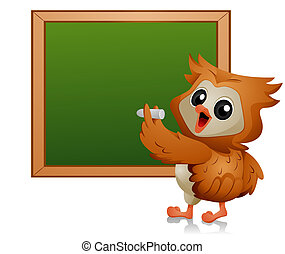 Owl Student - Owl writing on Blackboard with Clipping Path