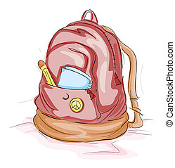 School Bag - Sketch of a School Bag with Clipping Path