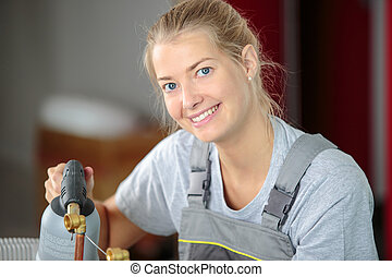 woman laborer smiling