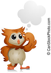 Owl Thinking with Clipping Path