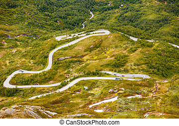 Road to Dalsnibba mountain, Norway - Road winding from...